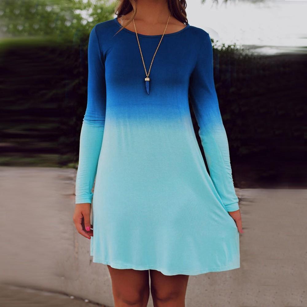 Plus Size Women Summer Gradient Color Beach Mini Dress Casual Party ...